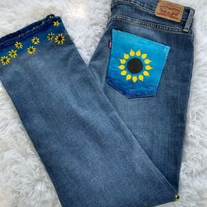 Levi's 314 straight leg hand crafted painted sz31